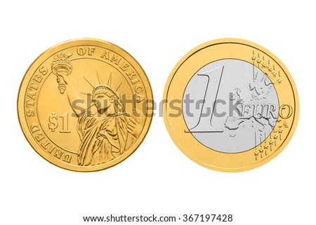 One dollar and one euro coins. Isolated on white background - stock photo