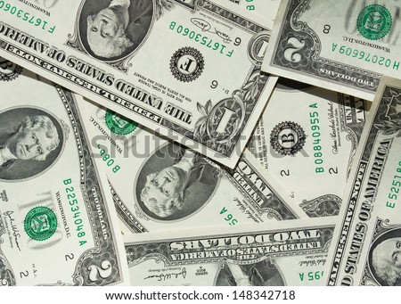 One-dollar and two-dollar bill