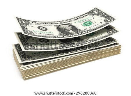 One dollar banknotes stacks (isolated and clipping path) - stock photo