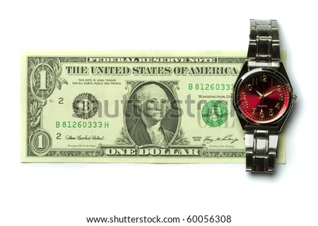 one dollar bill and a watch isolated on white background - stock photo
