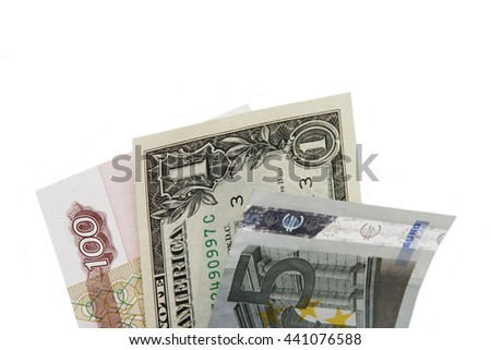 one dollar bill, hundred rubles, five euros isolated on white background - stock photo