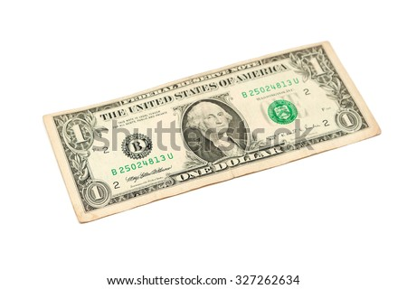 One dollar bill isolated on a white background - stock photo