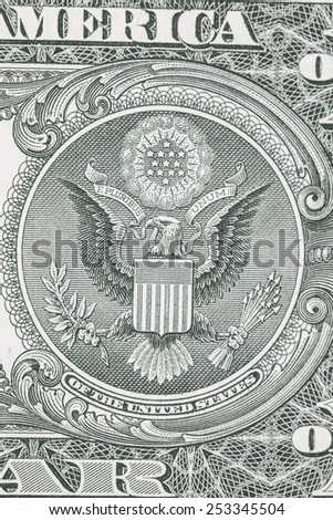 one dollar bill reverse macro - stock photo