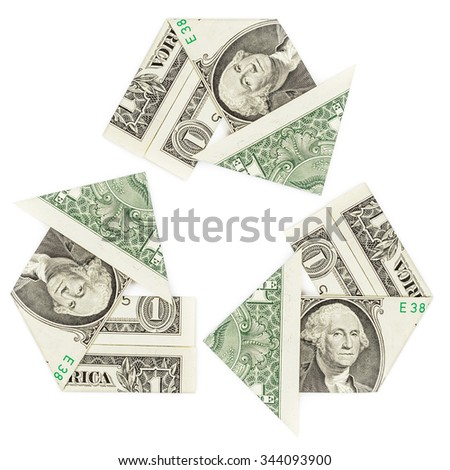 One dollar bills in a recycle symbol isolated on white background. Concept of revenue, reinvest, return.