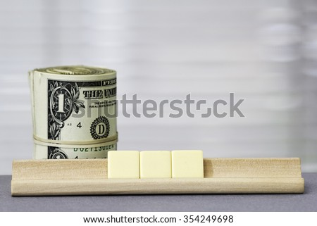 One dollar Copy Space for three letters - stock photo