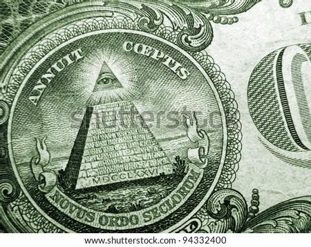 One dollar detail pyramid. Macro image. - stock photo