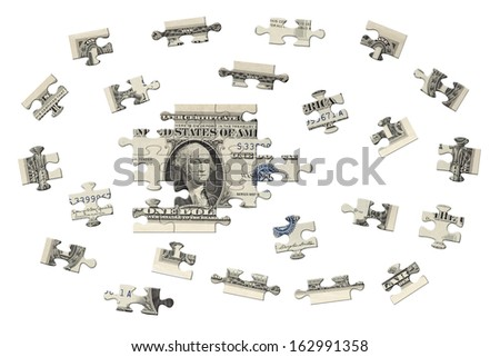 One dollar jigsaw - stock photo