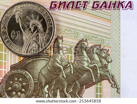 One dollar on a background of Russian money.  concept - stock photo