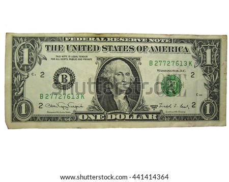 One dollar on the white background isolated