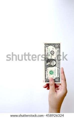 One dollars bill on hand isolated on white background