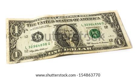 One dollars isolated on white background - stock photo