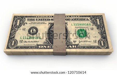 one dollars stack isolated on white background