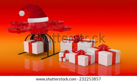 one drone or quadcopter with a Christmas hat and some gift boxes (3d render)
