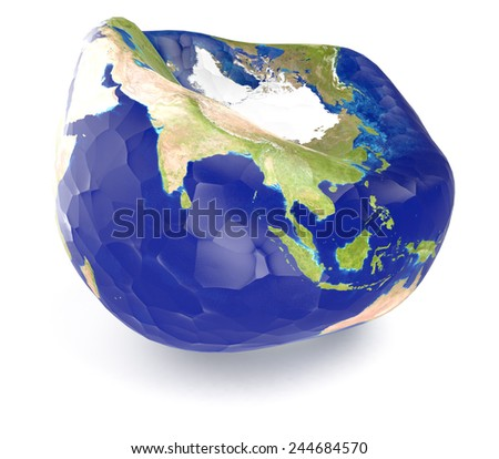 one earth globe deflated, concept of disease (3d render) - Elements of this image furnished by NASA - stock photo