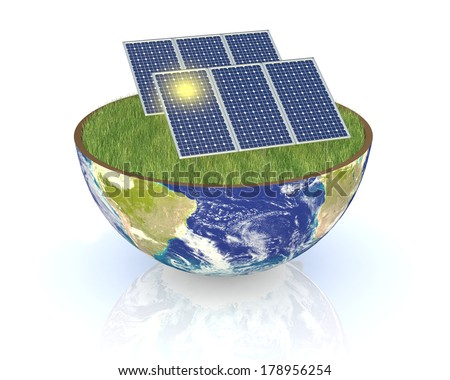 one earth globe divided into two parts, with a lawn and solar panels; concept of renewable energy and environmental conservation; Elements of this image furnished by NASA (3d render) - stock photo