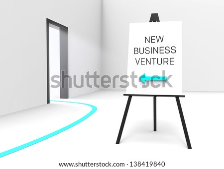 "One easel with a sign saying ""New business venture"" and an arrow pointing at a bright illuminated doorway, suggesting a great business opportunity."