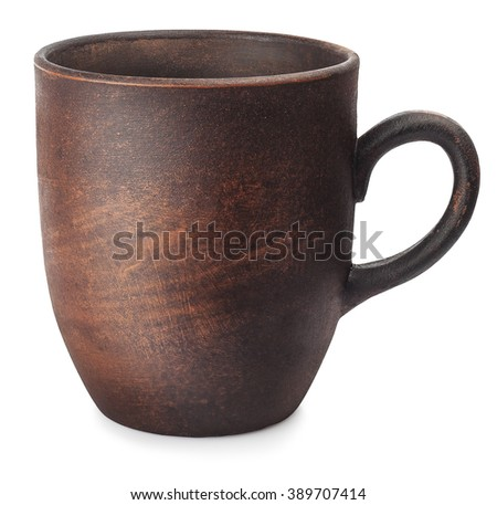 one empty clay cup isolated on white background - stock photo
