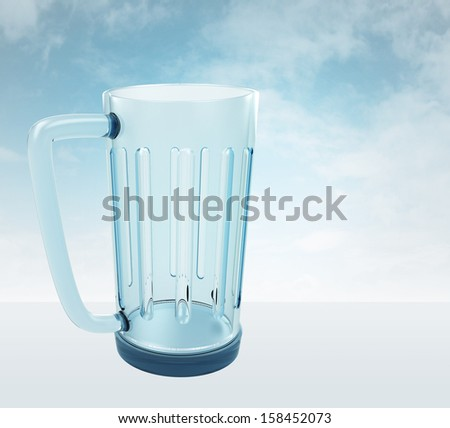 one empty glass for beverage with sky render illustration