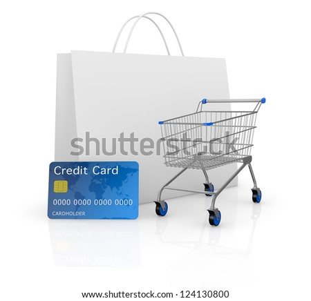 one empty shopping cart with a credit card and a shopping bag (3d render) - stock photo
