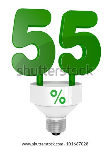 one energy saving light bulb with the number fifty five instead of the pipe (3d render)