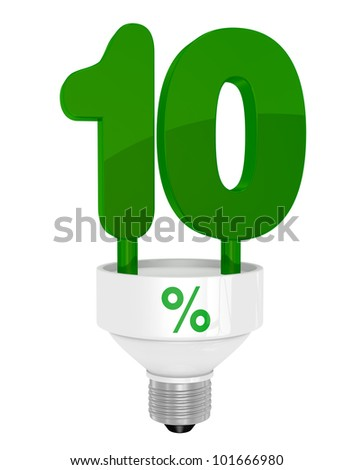one energy saving light bulb with the number ten instead of the pipe (3d render)