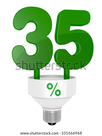 one energy saving light bulb with the number thirty five instead of the pipe (3d render)