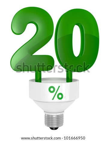 one energy saving light bulb with the number twenty instead of the pipe (3d render)