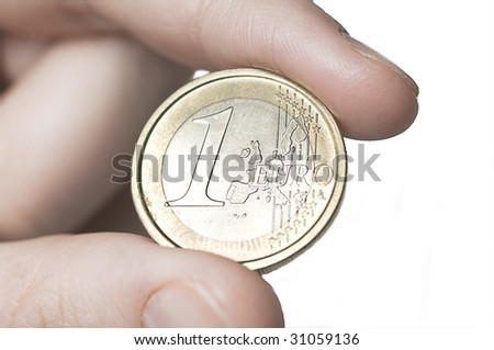 one euro - stock photo