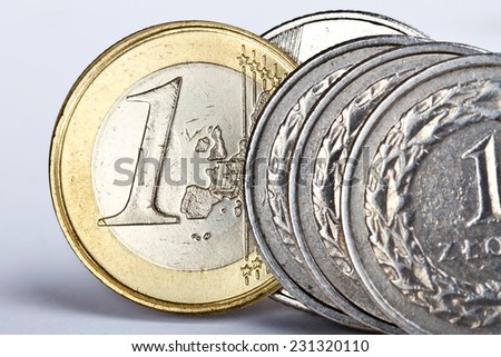 One euro and one zloty coin as an exchange symbol - stock photo