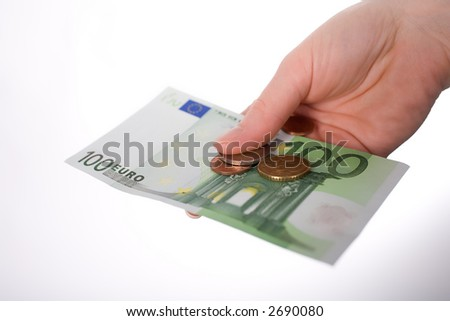 One 100 Euro-Banknote with some coins in first-person-view on outstretched arm. Isolated on white. More copyspace.