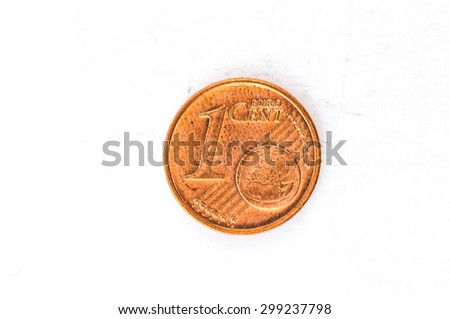 one Euro cent Coin with German frontside used look - stock photo
