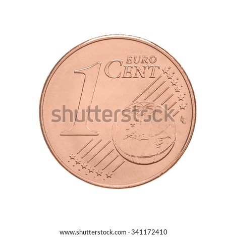 one euro cents coin - isolated on white - stock photo