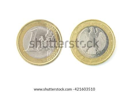 one euro coin closeup on white background - stock photo