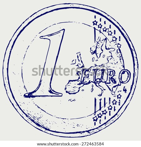 One euro coin. Doodle style. Raster version - stock photo