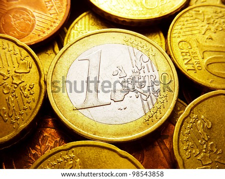 One euro coin. Europe finance system concept. - stock photo
