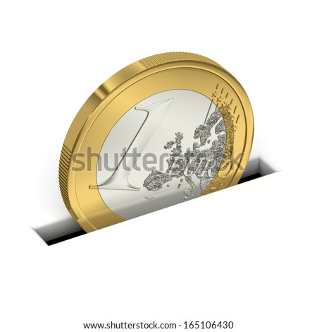 One Euro coin is saved - stock photo