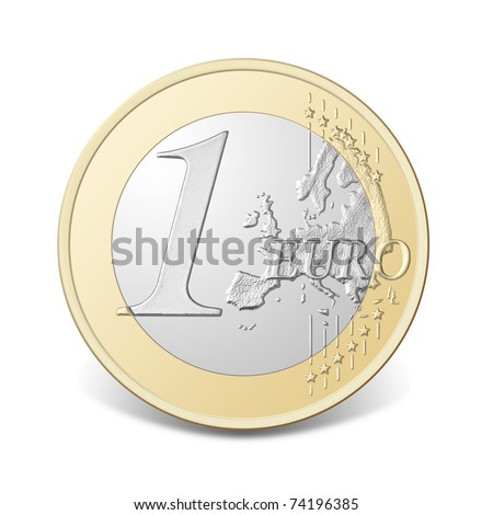 One euro coin, isolated on the white background, clipping path included.