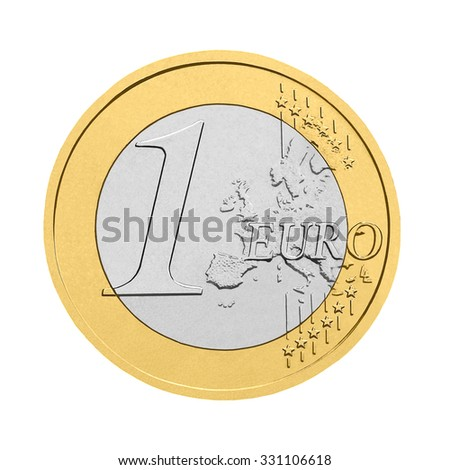 One euro coin - isolated on white background - stock photo