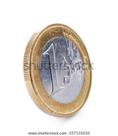 One euro coin isolated on white background - stock photo