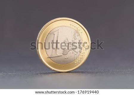 One euro coin on white - stock photo