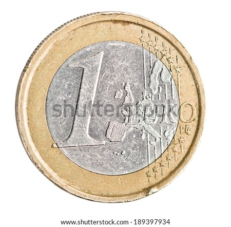 One euro coin on white. coin with scratches and scuffs - stock photo