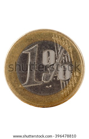 One euro coin on white, symbol percent, clipping path - stock photo
