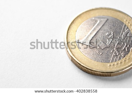 One Euro coin over white background - stock photo