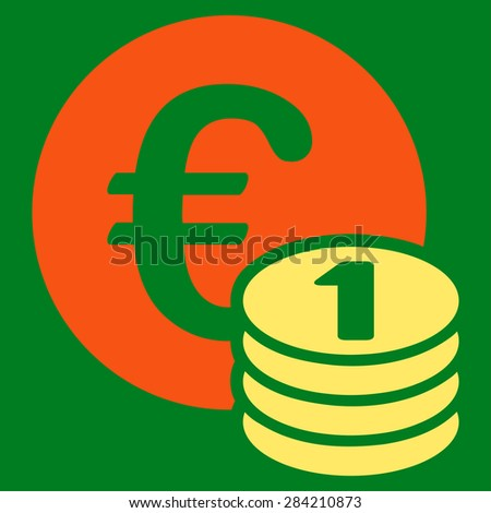 One euro coin stack from BiColor Euro Banking Icon Set. Glyph style: flat bicolor, orange and yellow symbol, rounded angles, green background.