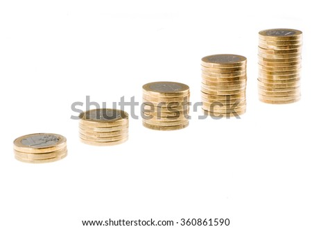 One euro coin stack isolated on white background - stock photo