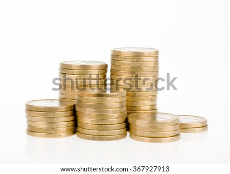 One euro coin stack isolated on white background