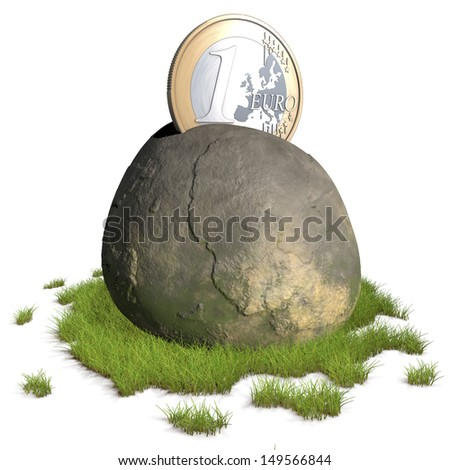 One euro coin stuck in a rock in an excalibur fashion - King Arthur legend of modern times - 3d rendering isolated on white background - stock photo