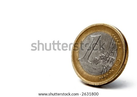 one euro coin with small shadow on white background - stock photo