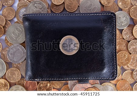 One euro on a black leather purse - stock photo