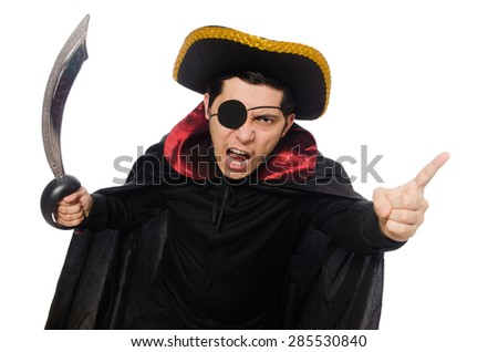 One eyed pirate with sword isolated on white - stock photo